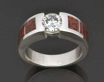 Dinosaur Bone Engagement Ring-  Moissanite and Dinosaur Bone Engagement Ring in Sterling Silver