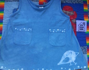 VW Bus And Bird Blue Batik Pocket Dress Size 2T