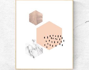 Geometric Peach/Marble/Rose Gold Wall art - Digital Prints, Instant Download - Home Decor, Wall Art, Prints.