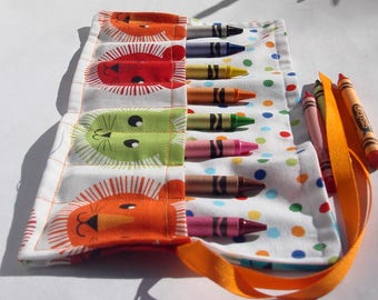Crayon Roll Up Crayon Holder Roar Lion Mane Faces - Holds 8 Crayons