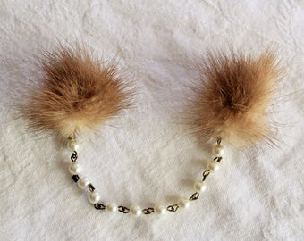 Brown mink sweater clips with faux pearl string / cute kitschy retro ladies fashion / 1950s or 1960s mid century