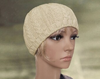 Classic knit beanie, Beige skull cap, Casual style beanie, Small warm hat, Wool beanie hat, Close fitting hat, hand knitting cap