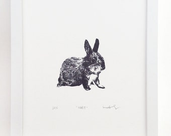 Bunny Letterpress Print Illustration Drawing for Animal and Nature Lovers or a Baby's Room