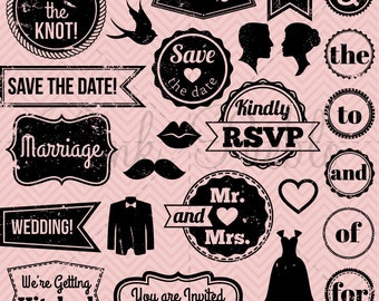Vintage Wedding Stamps Clipart Clip Art, Retro Wedding Invitation Badge Tags Labels Clipart Clip Art Vectors - Commercial & Personal