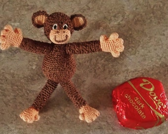 Get it Now - Quick shipping - Be the First To Act -- Crochet Item  Brownie The Mini Monkey