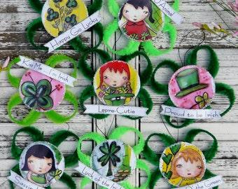 St. Patrick's day ornaments pdf pattern - banners shamrock clover Collage Sheet chenille stem illustrations art artwork ornies