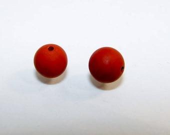 Set of 2 opaque 8 mm in diameter, top quality red Jasper beads. Pearl, semi precious stone. (2438805)