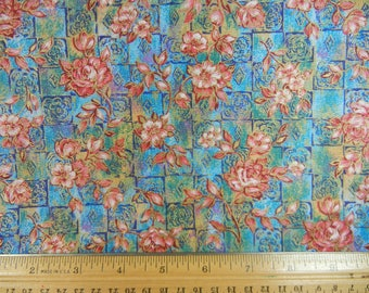 Pink Floral on Blue - Peter Pan Fabrics