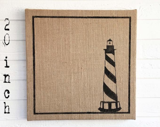 The Cape Lighthouse -  Burlap covered Cork Message Board 20 inch - Pin Board - Memo Board - Bulletin Board - Lighthouse Decor Coastal