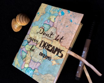 Handmade small vintage agenda/diary with Europe map.