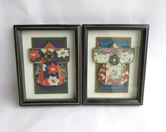 Pair of Japanese Ceramic Kimono 3D Handcrafated Wall Hanging Shadow Boxes Signed