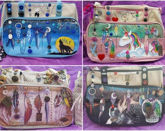 Custom LARGE Boho Hippy Dreamy Dreamcatcher Feathers Hippie Witchcraft Baby Nappy Diaper changing Bag