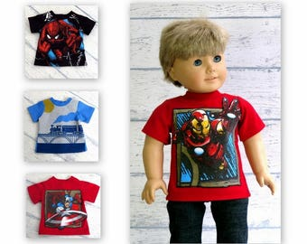 American Boy Doll Graphic Tee Shirts, 18 inch Doll Clothes T-Shirt, Your Choice of Design!