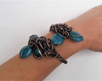 Wire wrapped bracelet Cuff wire bracelet Unique Handmade bracelet Wire wrap bracelet Statement jewelry Copper bracelet Wire bracelet