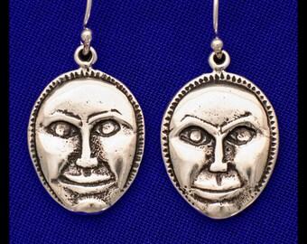 Moon Face Rattle- Sterling Silver- Earrings
