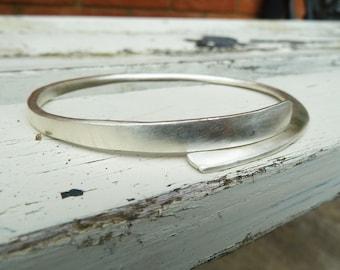 Forged silver bangle, heavy silver bangle