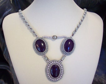 Silver and Purple Necklace Beadwoven Purple stones