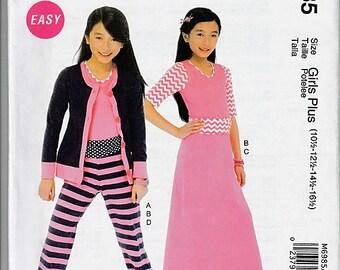 Girls'/Girls' Plus Cardigan, Top, Skirt and Pants / Original McCall's Crafts Uncut Sewing Pattern M6985