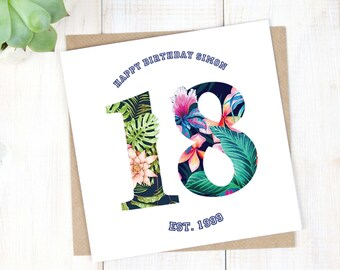 18th Birthday Card - Personalised Birthday Card - Hawaiian Birthday Card - Birthday Age Card - Son Birthday Card - Milestone Birthday Card