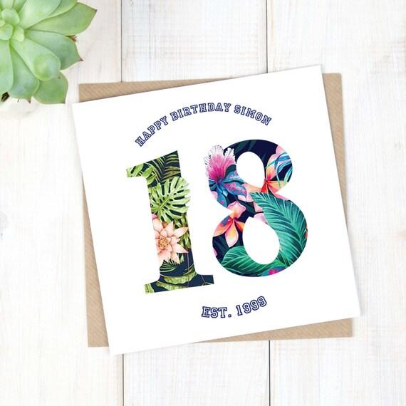 18th Birthday Card Personalised Birthday Card Hawaiian