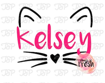 Cat Name Decal, Cat Face Decal, Cute Cat Decal, Personalized Gift, Kitty Cat Decal, Cat Sticker, Yeti Cup, Car Window Sticker, Laptop Decal