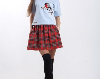 Red Plaid Skirt with pockets