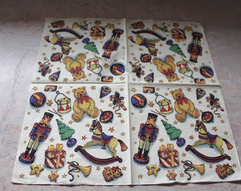Christmas themed paper napkin, toys