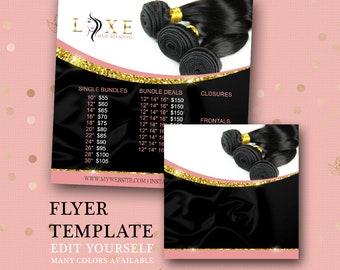Hair Bundle Flyer Graphic - DIY - Social Media Graphics - Instagram Flyer - Facebook Flyer, Multi-Color