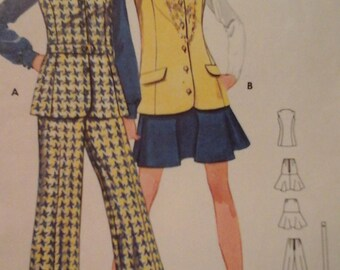 Butterick 5391 hip bell-bottom pants, vest, and skirt pattern, size 10