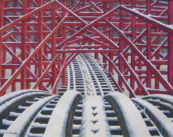 """Roller Coaster Print from Original Watercolor """"The Apex"""""""