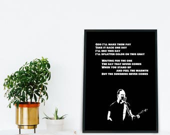 Metallica inspired lyrics The Day That Never Comes Song Quote Wall Art Anniversary Men Gift Printable Poster, Music lyric art, Music lover