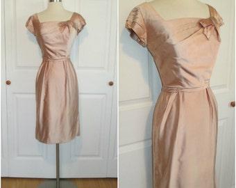 "EMMA DOMB 1950's Vintage Blush Pink Satin Cocktail Wiggle Dress xs/s 25"" Waist"