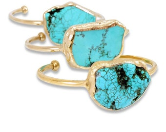 Raw, Turquoise Cuff Bracelet, Turquoise, December Birthstone, Gold Cuff,  Raw Gemstone Bracelet, Crystal Jewelry, Stone, Turquoise Bracelet.