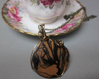 Black White Ebony Orchid Exotic Wood Pendant Wire Wrapped Antique Copper non tarnish wire Handcrafted repurposed by ExoticWoodJewelryAnd