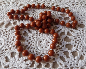 Rich Chestnut Brown Vintage Plastic Bead Necklace from 1970s