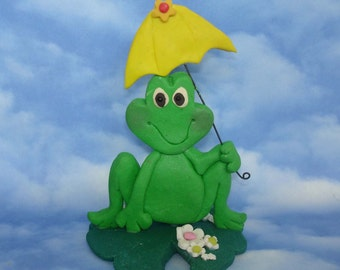 Frog Umbrella Cake Topper Handcrafted Polymer Clay Lily Pad Pond CatTails Daisy Flowers Birthday Spring Party New Baby Shower 1st