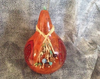 Large Woodburned Gourd with Raffia and Bead Necklace