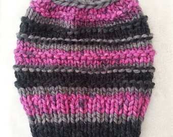 Messy Bun Hat Hand Knit Pink Black Gray