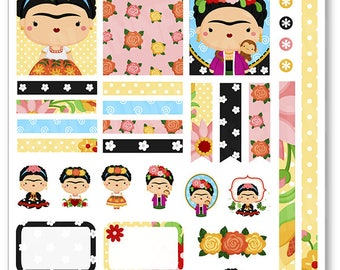 Frida Decorating Kit / Weekly Spread Planner Stickers for Erin Condren Planner, Filofax, Plum Paper