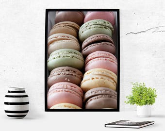 Macaron Photography Kitchen Art Print French Decor Macaroons Food Photography Download Photo Paris Printable Macaroon Macarons Pastel Art