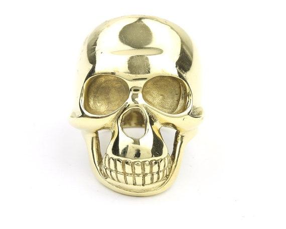 Brass Skull Ring, Large Skull Ring, Gold Skull Ring, Biker Jewelry, Skeleton