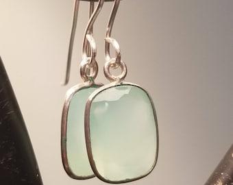 Sterling Silver Chalcedony Earrings / Chalcedony Earrings / Chalcedony Jewelry / Seafoam Chalcedony Earrings