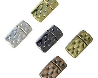 10mm Hammertone Flat Magnetic Clasp / ID 10 x 2mm / choose from antique bronze, copper, black gunmetal or bright silver, gold