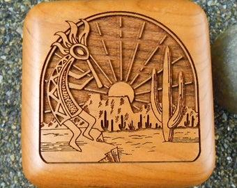 Carved Wood, Kokopelli Box, Trinket Box, Vintage Box, Hinged Wood Box, Handmade Vintage, Jewelry Storage, Gift Box, Wood Trinket Box