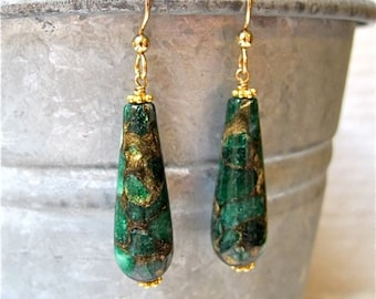 Gold and green drop earrings GREEN MOSAIC