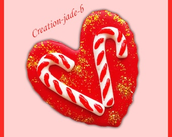 Brooch heart candy canes - Christmas FIMO