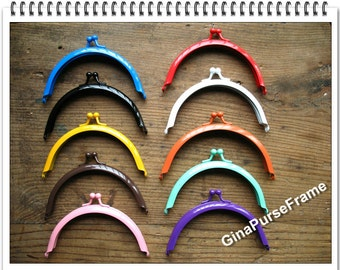 10pieces-10.5cm(4 inch) rainbow colors baking-varnish half circle metal bag purse frame (10colors)