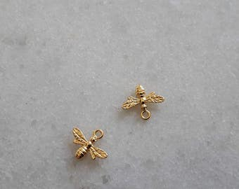 Sterling Silver (925) 24k gold plated- 15mm Bee Charms