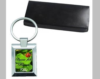 Metal Keychain, name and design choice with its gift box, lucky, flowers, butterflies