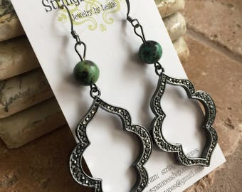 African (Turquoise) Jasper Marcasite Earrings